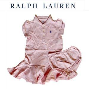 NWT. Ralph Lauren girl polo 2pc dress Pink